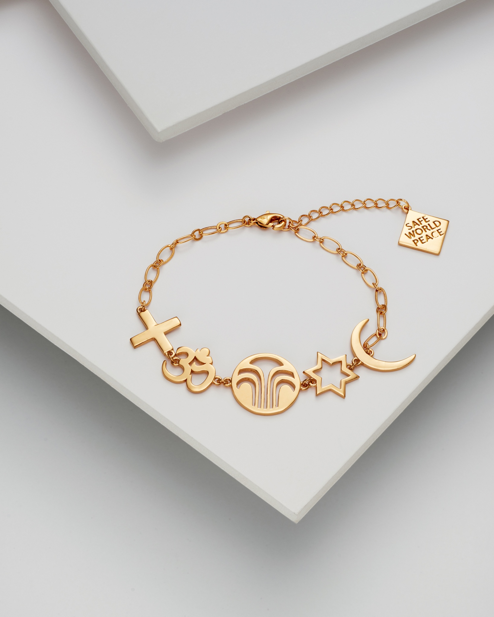 Safe World Peace, Force for Good collection - Gold Plated Brass