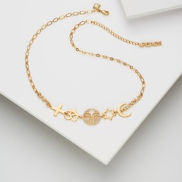 Safe World Peace, Force for Good collection - Necklace Gold Plated Brass with Zirconium